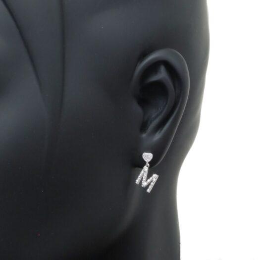Mono Orecchino con Iniziale Artlinea in Oro Bianco con Diamanti - Nomi e Iniziali Diamond - OD289-4B